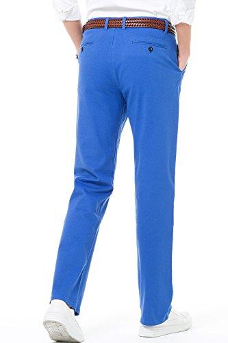 Rectas Corte 16 Estilo Liso de Pantalones Casual Harrms Perneras Elegir Recto con Colores para Hombre Pantalones de Hombre Cerúleo IO6gSq