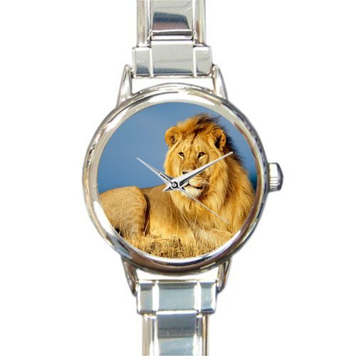 Lion Charm Italian - Personalized Watch Afican Lion Round Italian Charm stainless steel Watch