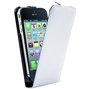 Phonix IP4G05WH - Carcasa de cuero ecológico para Apple iPhone 4 y 4s, blanco