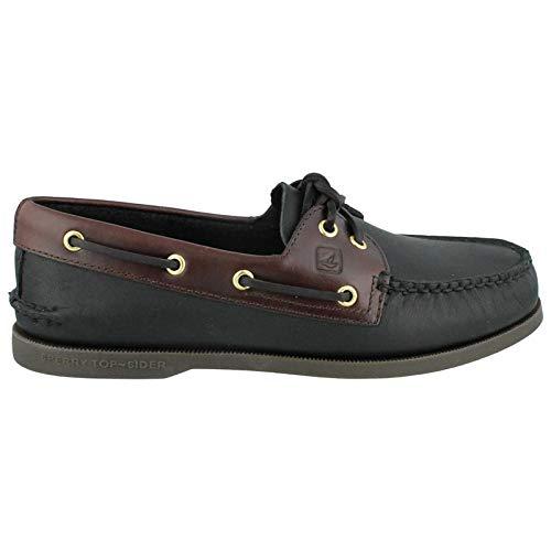 Sperry Top-Sider Men's A/O 2-Eye Boat Shoe, Black/Amaretto, 13 W - Western Footwear Leather