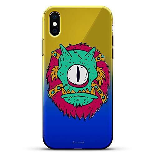 1 Series Rise - One-Eyed Monster on Bike   Luxendary Gradient Series Clear Ultra Thin Silicone Case for iPhone Xs/X (5.8