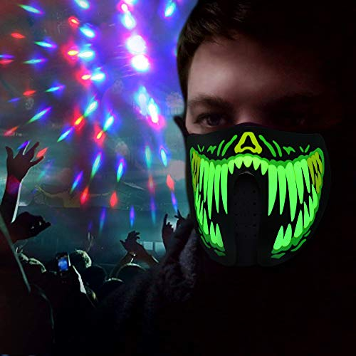 HITOP LED Light Up Party Mask Sound Reactive LED Mask for Men Women Rave Mask Music Sound Activated Mask for Party 2018 Halloween and Any Festival (Green Teeth)