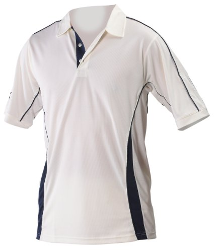 GRAY-NICOLLS Adult Players Short Sleeve Shirt, White/Navy, M by Gray-Nicolls
