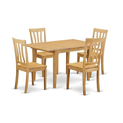 (East West Furniture NOAN5-OAK-W 5 Piece Dinette Table and 4 Chairs Set)