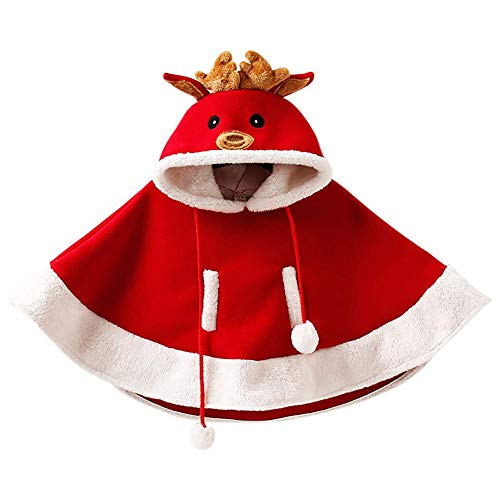 Christmas Costume - Baby Christmas Hoodie Shawl Elk Pattern Clothing Christmas Cape Dress Cute Hat Girl Gift Clothes (Size : S) -