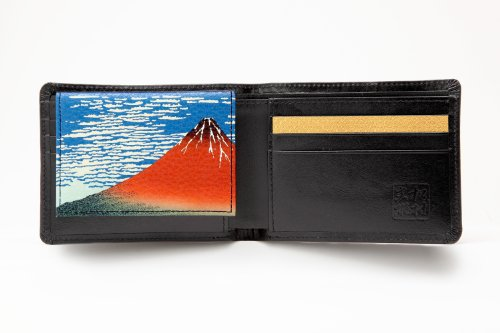 Matsumura Fumio Production: Men's Two Bi-fold Cowhide Wallet/fine Wind, Clear Morning (Id Case with a Japanese-style Painting) (Black Seal/gold/fine Wind, Clear Morning) by Fumio Matsumura (Image #1)