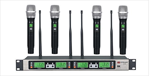 GTD Audio UHF 4 x100 Selectable Frequency Channel Professional 4 Hand-held Wireless microphone Mic System