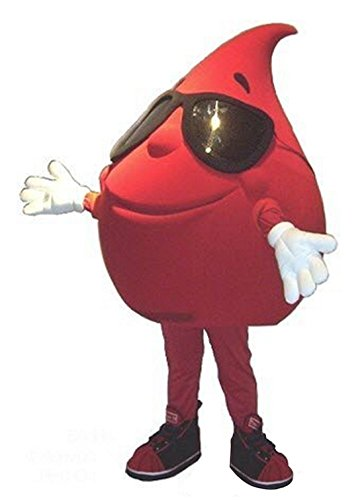 Red Drop of Water Blood Mascot Costume Cartoon Character Adult Sz Langteng]()