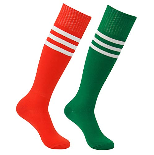 Softball Socks, Atrest Youth Adult Striped Breathable Over Knee Sport Tube Socks for Football Soccer Baseball Rugby Red+White Stripe&Green+White Stripe 2 Pairs