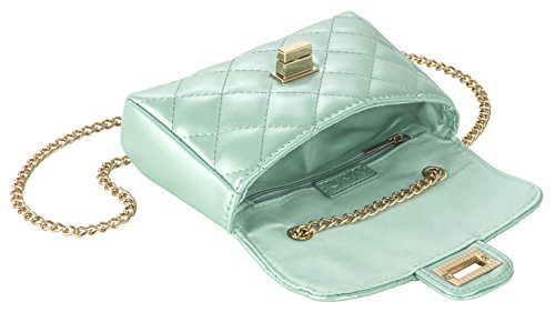 Fashion Accessories by M&C - Quilted Mint Faux Leather Handbag - Make Every Second Count - HB10709