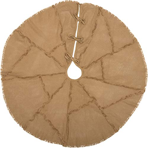 VHC Brands Holiday Burlap Natural Reverse Seam Tree Skirt, 48