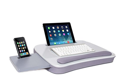 (Sofia + Sam Multi Tasking Lap Desk (Silver) | Supports Laptops Up to 15 Inches)