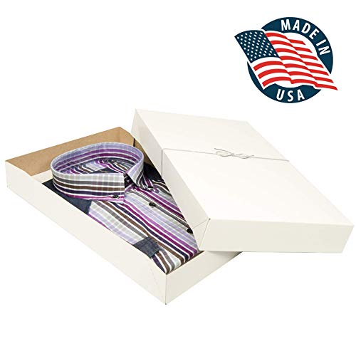 Shirt Gift Boxes for Clothes and Gifts. This 10 pack of White Large Boxes with Lids includes Tissue Paper and Silver Stretch Loops to Perfectly Wrap Your Gifts in Style. -