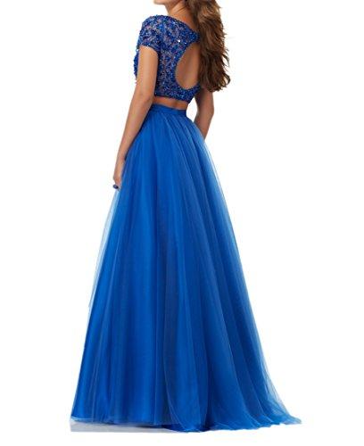 2018 Festlichkleider mia Abendkleider La Blau Kleider Partykleider Kurzarm Pailletten Neu Lang Braut Kleider Jugendweihe YBwwE