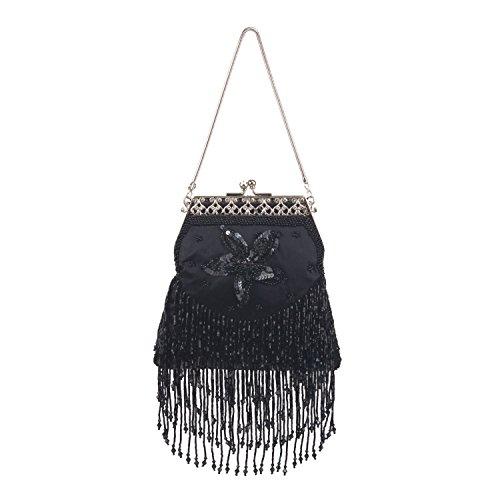 FARFALLA satén bolsa con flecos Negro - negro