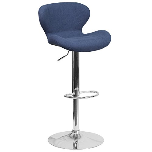 Flash Furniture Contemporary Blue Fabric Adjustable Height Barstool with Chrome -