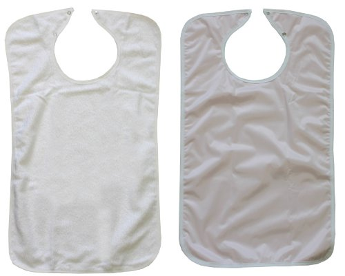 3 Terry Adult Bibs with Vinyl Barrier (White with Light Pink Backing) Made in USA