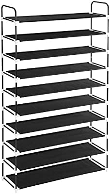 MaidMAX 10 Tiers Free Standing Shoe Rack For 50 Pairs Of Shoes Organzer In Closet  Entryway Hallway, 39.4 X 11.4 X 68.9u0027u0027, Black