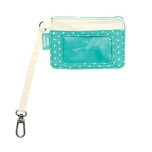 Thirty One Canvas Crew Coin Purse in Natural with Turquoise Swiss Dot - 4855