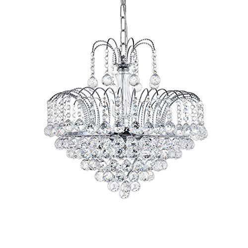 Dst Modern Crystal Chandelier Clear Genuine 6-Lights Ceiling Light Rain Drop Light Height 42cm Dimmer 45cm Chain 60cm for Hallway, Dining Room, Living Room, Bedroom Study Room