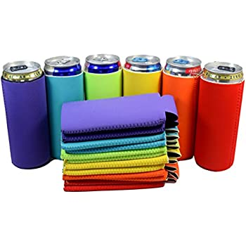 QualityPerfection Ultra Slim Can Sleeves Premium Slim Beer Can ,Energy Sleeves Great 4 Holidays,Events,Parties,Independence Day Verity Colors (6, Red,Purple,Neon Green,Neon Orange,Yellow,Turquoise)