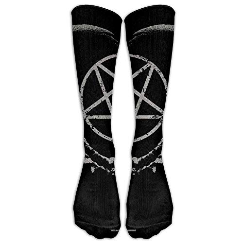 Gothic-Occult-Satan-Penta-Symbol-Skull-Athletic-Tube-Stockings-Womens-Mens-Classics-Knee-High-Socks-Sport-Long-Sock-One-Size