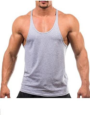 YAKER Men's Blank Stringer Y Back Bodybuilding Gym Tank Tops