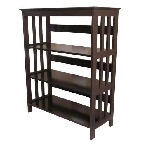 Espresso Finish Rubberwood 3 Tier Storage Bookcases