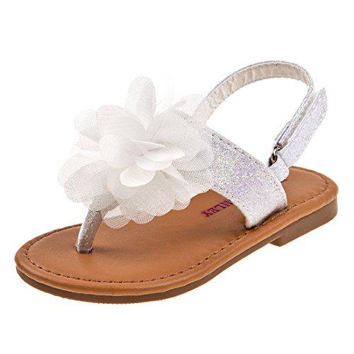Laura Ashley Girls Glitter Sandal with Flower, White, 1 M US Infant' -