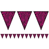 pink and zebra party streamers - Beistle 54241-CBK Zebra Print Pennant Banner, 10-Inch by 12-Feet