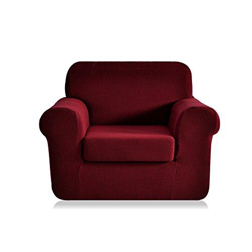 CHUN YI 2-Piece Jacquard High Stretch Armchair Cover, Polyester and Spandex 1 Seater Cushion Sofa slipcover Coat, Furniture Protector for Couch and Sofa (Chair, Wine)