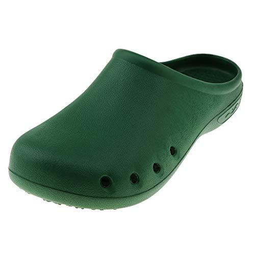 Fityle Zueco De Enfermería Unsiex Zapatos Antideslizantes Transpirables Pantuflas para Estar por Casa Baño - Verde, UK5-6