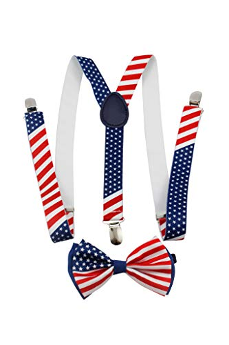 New American Flag Suspender and BOW TIE Matching SET Tuxedo Wedding Suit
