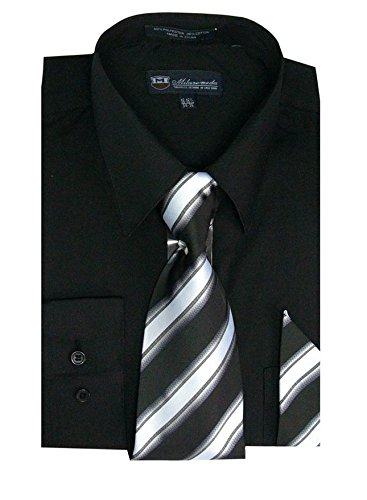 Milano Moda Men's Long Sleeve Dress  With  Tie And Handkie SG21A-Black-17-17 1/2-36-37