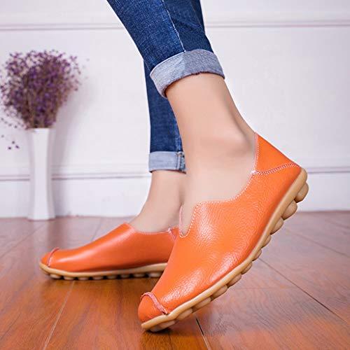 Individual Naranja Cordones Mujer Para De Color Sin Liso Redondos Plano Calzado Zapatos Guisantes wUAPx7