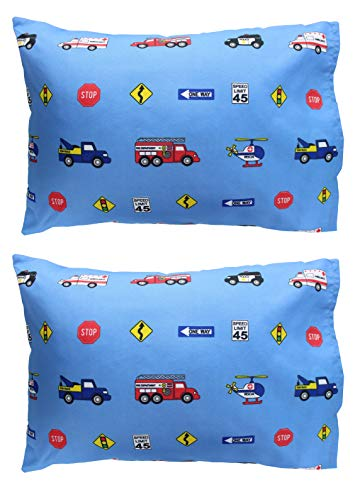 EVERYDAY KIDS 2-Pack Toddler Travel Pillowcases -100% Soft Microfiber, Breathable and Hypoallergenic – 14″ by 20″ Kids Pillowcases fits Pillows 14×19, 13×18 or 12×16, Fire, Police and Rescue