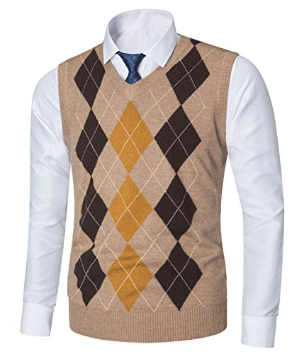Yingqible Mens Casual Knitted Tank Top V-Neck Sleeveless Vest Sweater Knitwear Argyle Khaki