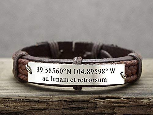 - I Love You To the moon and back Bracelet in Latin, Latitude Longitude, Custom Coordinate, Stainless Steel Brown Leather Wristband