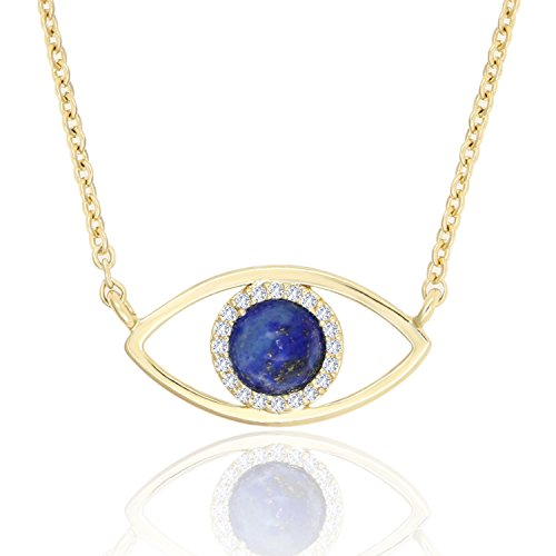 KISSPAT 14K Gold Evil Eye Pendant Necklace Natural Lapis Lazuli Stone Protection Jewelry for Women