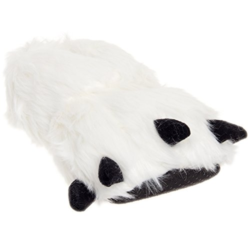 Silver Lilly Bear Paw Animal Slippers (White,