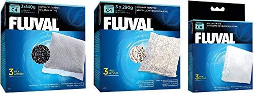 Fluval Hagen Ammonia Remover (Fluval C4 Filter Media Bundle: Carbon 3-pk, Ammonia Remover 3-pk, Foam Pad 3-pk)