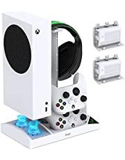Charger Stand with Cooling Fan for Xbox Series S Console and Controller,Vertical Dual Charging Dock Accessories with 2 x 1400mAh Rechargeable Battery and Cover, Earphone Bracket for Xbox Series S(White)