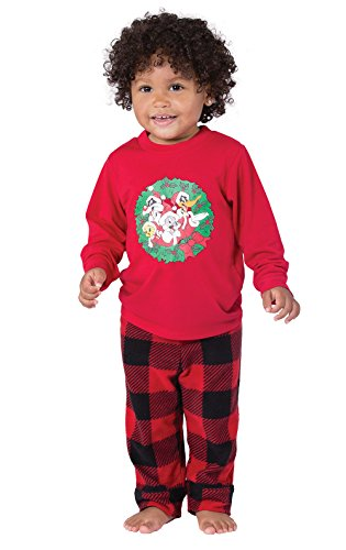 PajamaGram Looney Tunes Long Sleeve Fleece Infant Pajamas, Red/Black, 6 Months