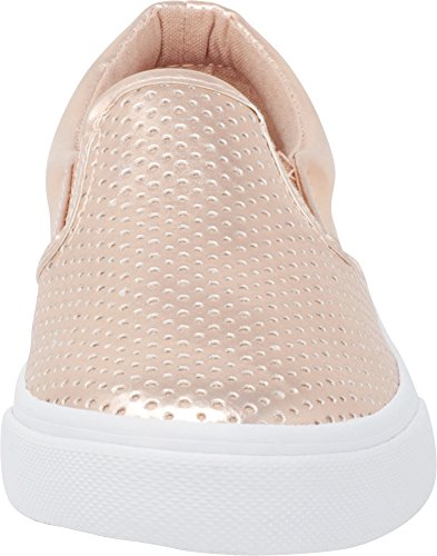 Cambridge Select Women's Round Toe Perforated Laser Cutout Slip-On Flatform Fashion Sneaker Dark Penny Pu/White Sole
