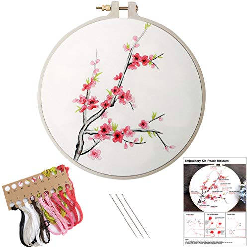 Embroidery Kit, Creative Flower Hand Embroidery Cross Stitch Starter Needlepoint Crafts Kit with Color Pattern Cloth, Embroidery Hoop, Color Threads and Tools Kit for Home Decor-Flower B
