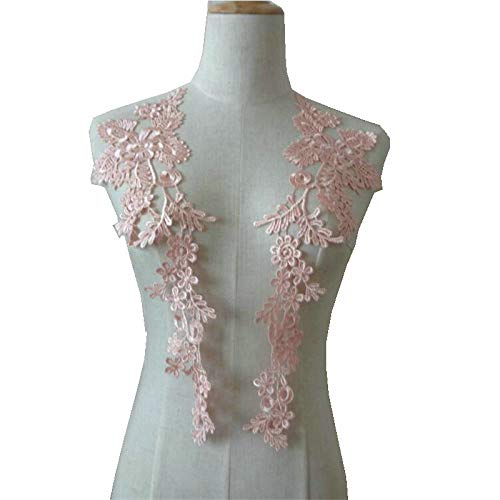 1 Pair Embroidery Applique Wedding Lace Floral Motif Sewing Trims Decoration (Pink)