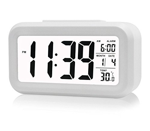 Fieans Solid Color Streamlined Snoozing Alarm Temperature Smart Night Light Activated LCD Digital Display Clock (white)