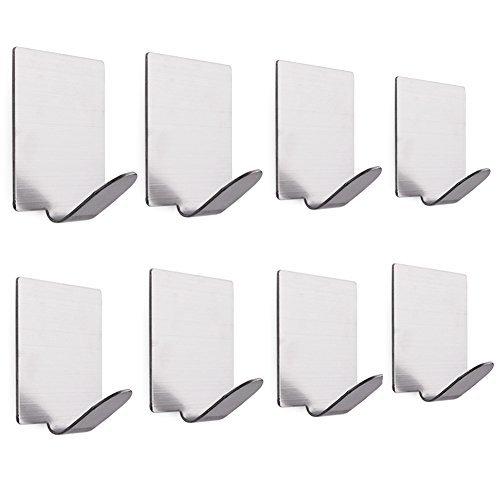8 Pcs Heavy Duty 3M Adhesive Towel Hooks Wall Hangers, Bathroom Robe Coat Hat Door Key Racks, Waterproof Brushed Stainless Steel - Modern Wall Tile