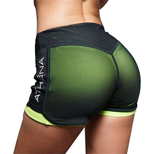 lovewhitewolf Women Workout Yoga Fitness Running Performance Stretch Sport Shorts (Green, XL)