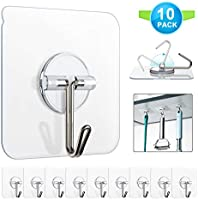 Adhesive Hooks, Znben Reusable Utility Hooks Heavy Duty 13LB Wall Hooks Transparent Seamless Hooks Waterproof and Oil...